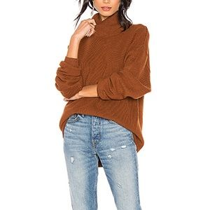 Free People Softly structured knit brown tunic